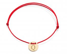 Červená šnúrka, 14kt zlato, Iniciál Q