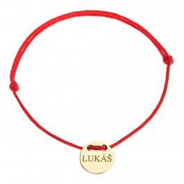 Červená šnúrka, 14kt zlato, Lukáš - detský, dámsky aj pánsky