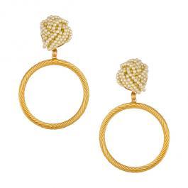Náušnice MAYOL pozlátené 24 kt zlatom s perličkami