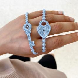 Náramok CRUCIANI Zámok a kľúč bledo modrá 2v1
