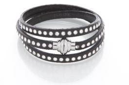 Náramok QUDO Deluxe Silver čierna SWAROVSKI crystal