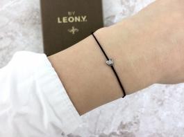 Náramok BY LEON.Y. čierny - Hematit mini Srdiečko - Silver