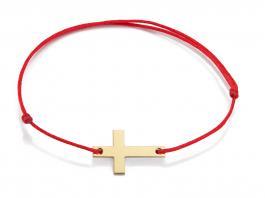 Červená šnúrka, 14kt zlato, Krížik
