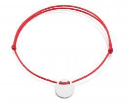 Červená šnúrka, striebro, Medajlón