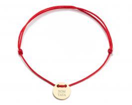 Červená šnúrka, medajlón 14 kt zlato, SOM TATA