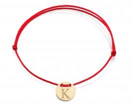 Červená šnúrka, 14kt zlato, Iniciál K