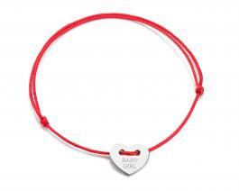 Červená šnúrka, srdiečko striebro, BABY GIRL