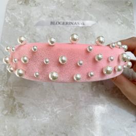 Čelenka zo zamatu s perličkami PINK - Made in Greece - ručná výroba
