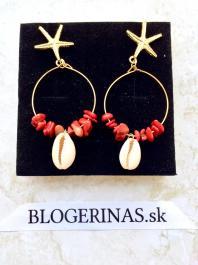 Náušnice s minerálnymi kameňmi a mušľou - RED CORAL