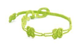 Náramok CRUCIANI Štvorlístok slim detský neónovo žlto zelená